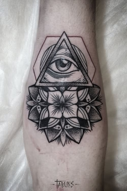 Strange looking dotwork style arm tattoo of large flower with triangle