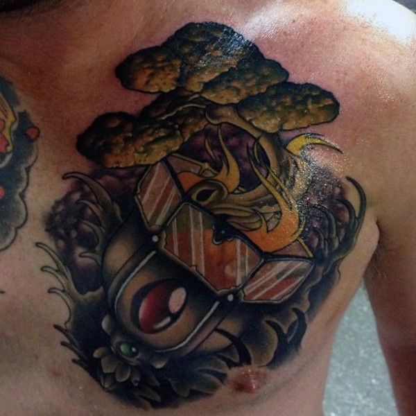 Strange looking fire pit with burning tree tattoo on chest