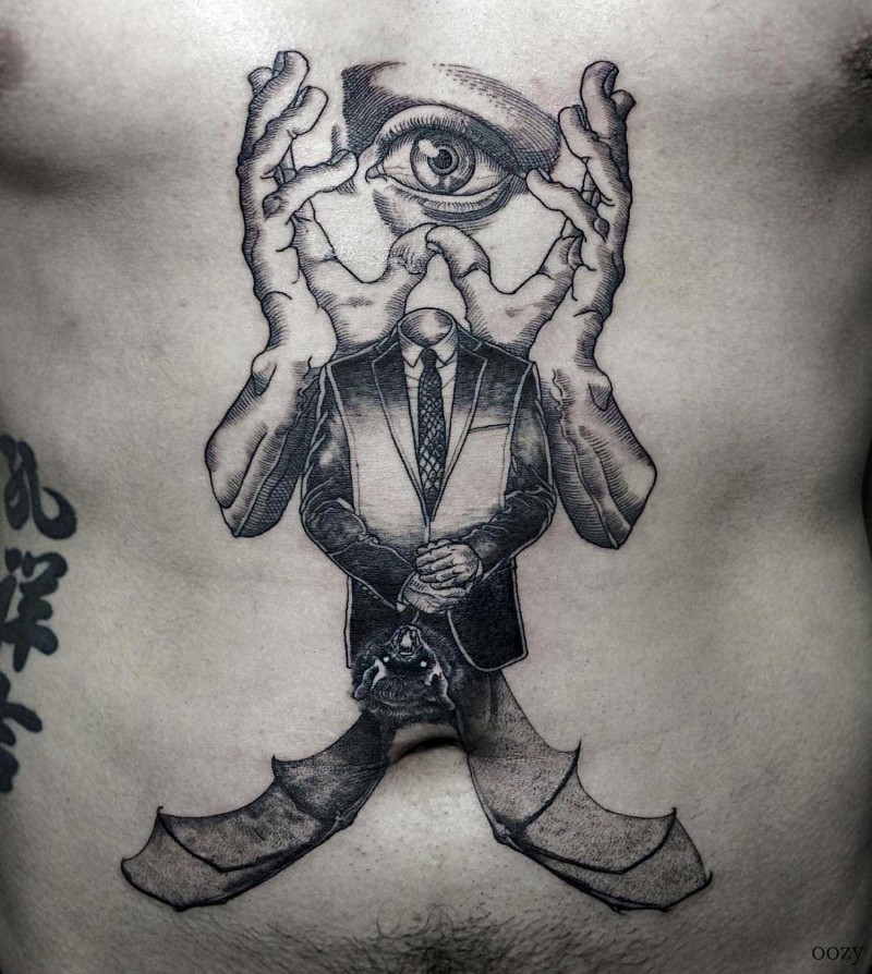 Strange looking surrealism style black ink belly tattoo