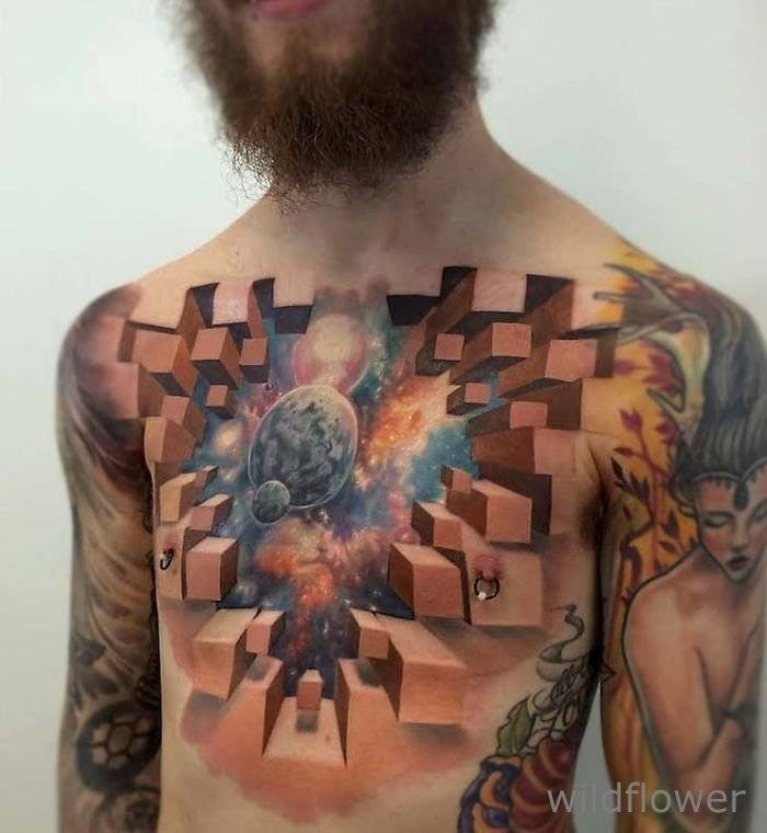 Stunning 3D colorful geometrical tattoo on chest stylized with space
