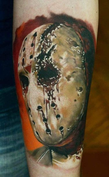 Stunning 3D realistic horror movie Jason mask tattoo on arm
