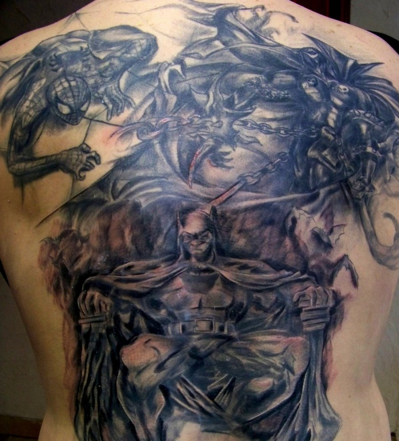 Stunning 3D style very detailed colored whole back tattoo of various comic books superheroes