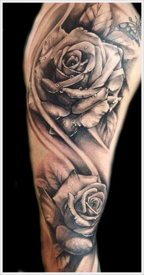 Stunning 3D very detailed black and white roses tattoo on shoulder