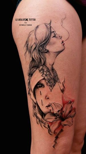 Stunning abstract style colored smoking woman with flower tattoo on thigh
