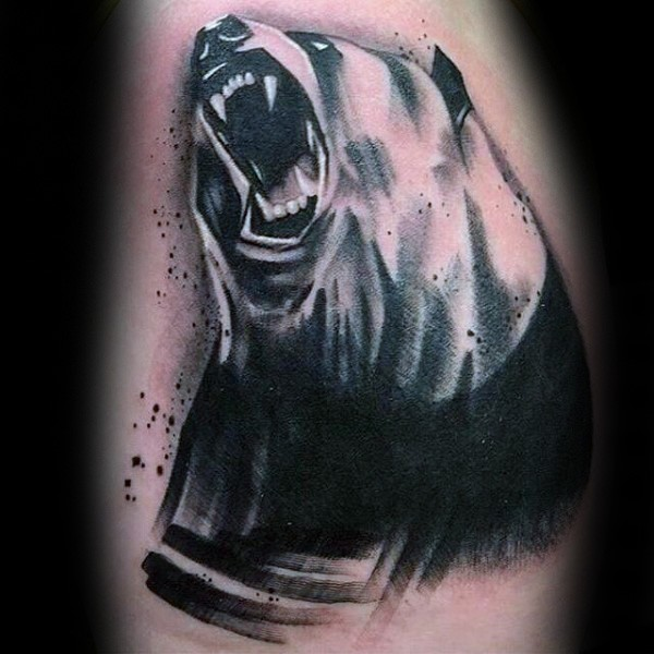 Stunning black and gray style tattoo of big evil bear