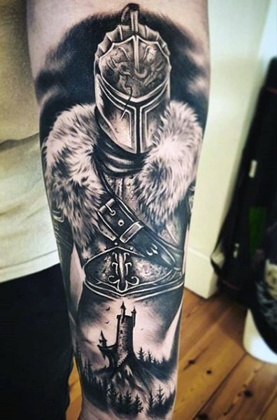 Stunning black and white detailed medieval warrior tattoo on forearm with castle