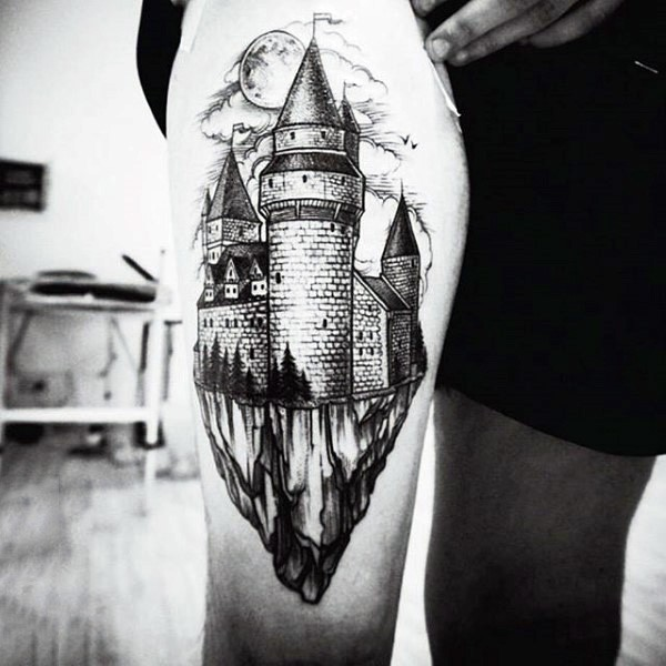 Stunning black and white medieval castle tattoo on thigh