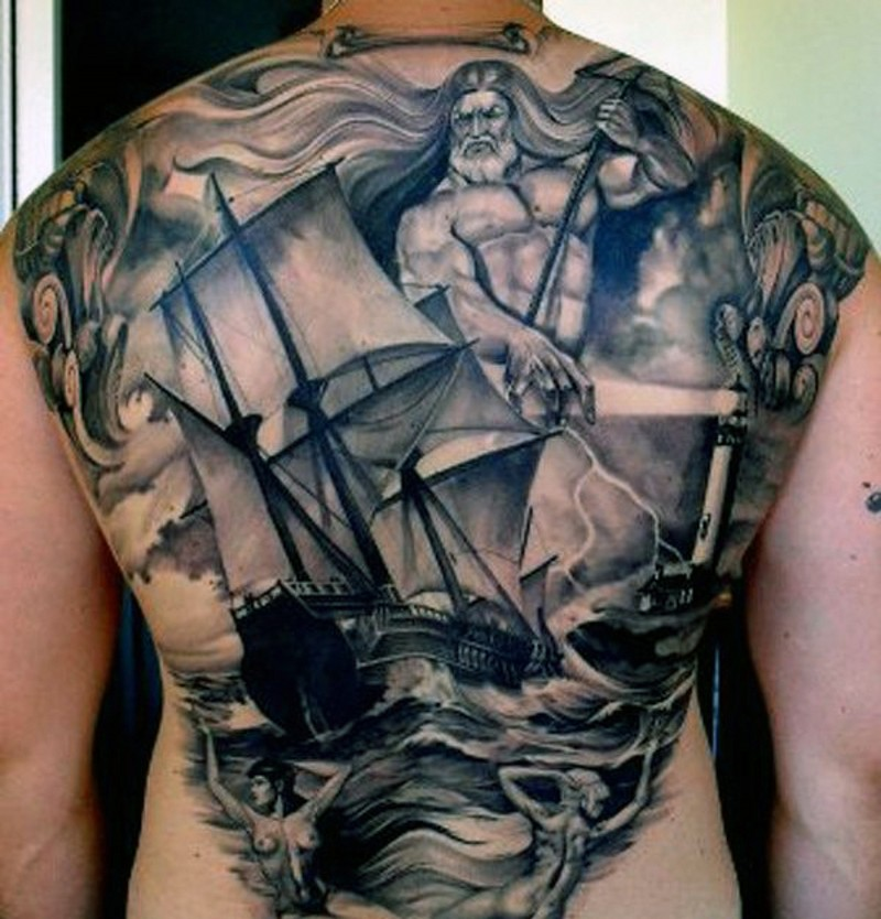 Stunning Black And White Ship With Poseidon Tattoo On Whole