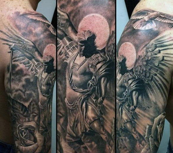 Stunning black and white shoulder tattoo of angel warrior with pigeon