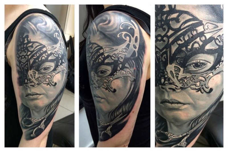 Stunning black and white shoulder tattoo of woman mask