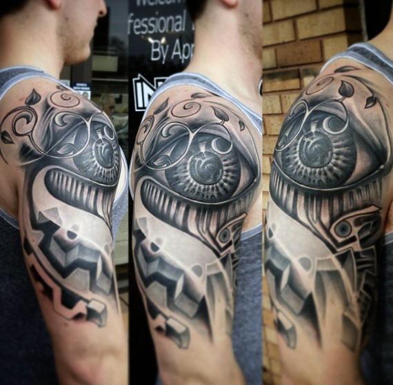 Stunning black ink big mystical eye tattoo on shoulder area
