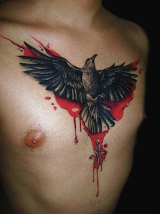 Stunning colored big colored chest tattoo of bloody crow and mystical symbol