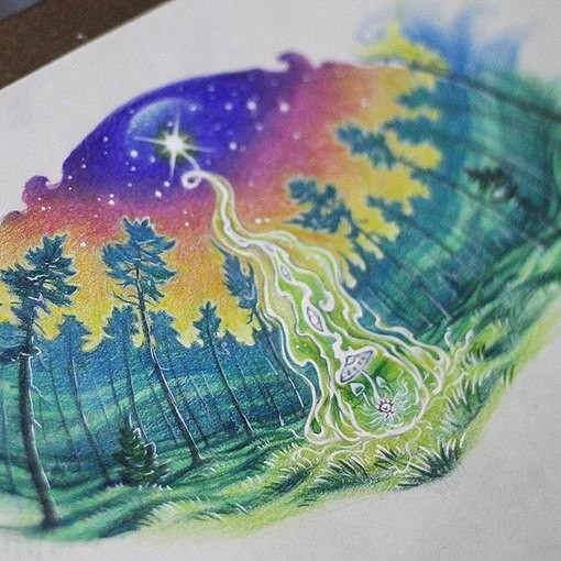 Stunning colored illustrative style mystical forest with star and mushroom tattoo
