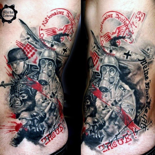 Stunning colored military tattoo on side with lettering