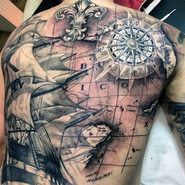 Atemberaubendes Design Und Farbige Weltkarte Mit Kompass Und Schiff