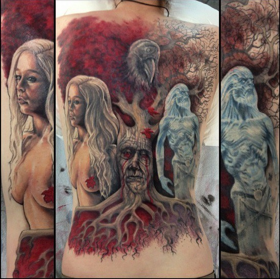 Stunning designed multicolored massive Game of Thrones themed tattoo on whole back with various heroes
