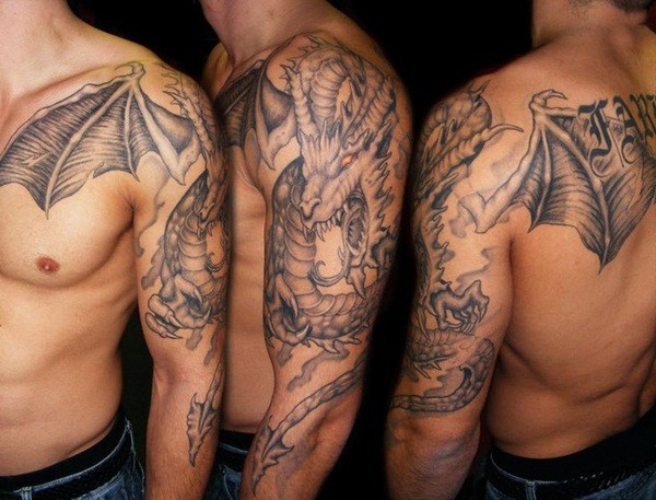 Stunning detailed and colored 3D fantasy dragon tattoo on shoulder and chest