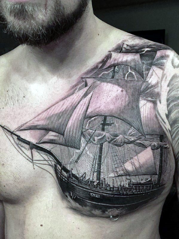 Stunning detailed looking realism style sailing ship with lightning