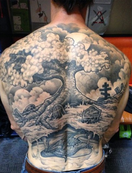 Stunning detailed massive black and white whole back tattoo of lonely tree in cemetery