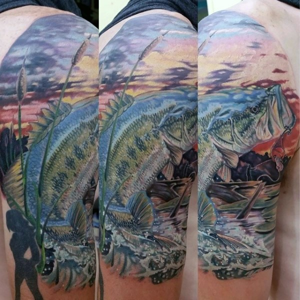 Stunning detailed very realistic colored big hooked fish half sleeve tattoo