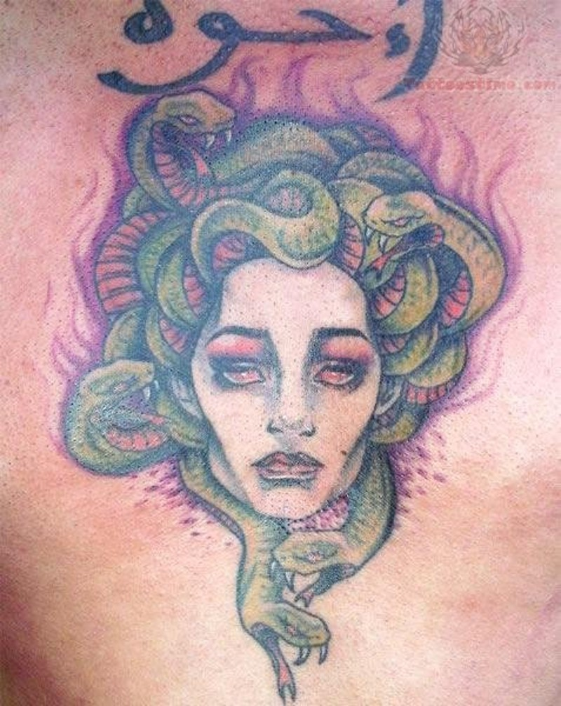 Stunning homemade watercolor Medusa head with snakes tattoo