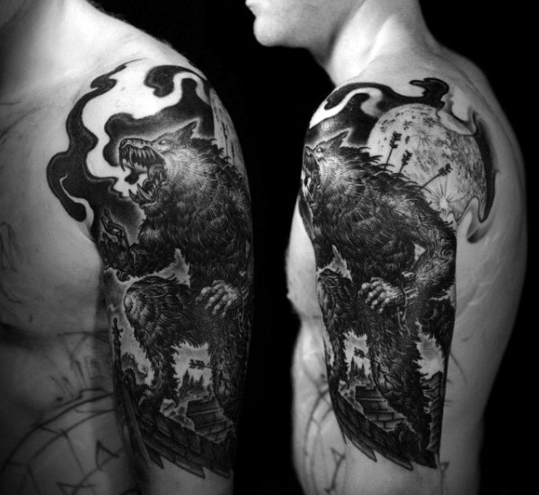 Stunning illustrative style black and white werewolf fighter with moon and arrows