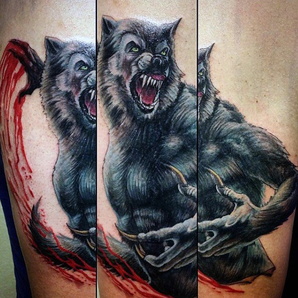 Stunning illustrative style colored arm tattoo of cool looking bloody werewolf