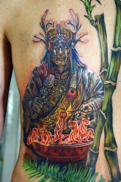 Stunning illustrative style colored mystical fantasy magician tattoo on back