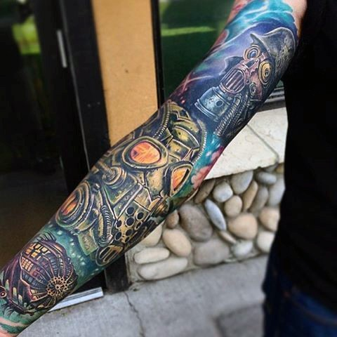 Stunning interesting colored sleeve tattoo of various gas masks