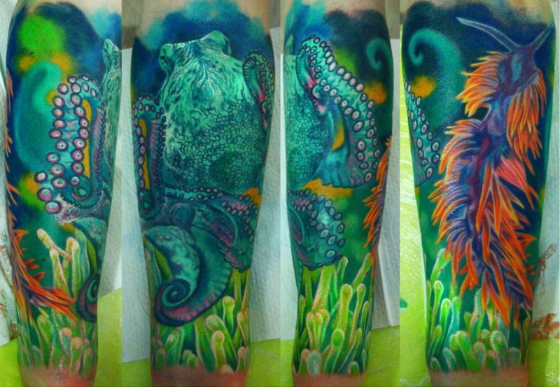 Stunning large realism style colored octopus with underwater plants tattoo on forearm