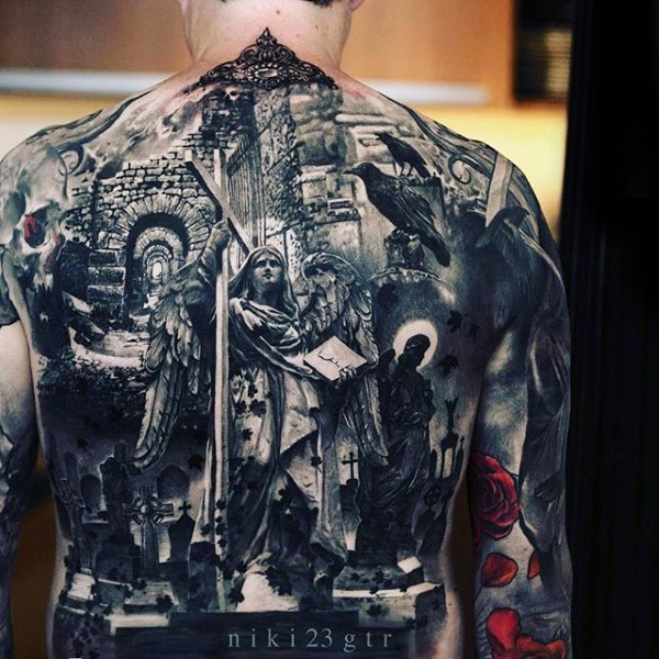 Stunning looking black ink realism style whole back tattoo of ancient cemetery ruins