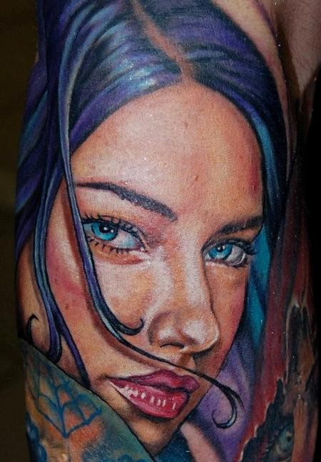 Stunning looking realism style colorful arm tattoo of beautiful woman portrait