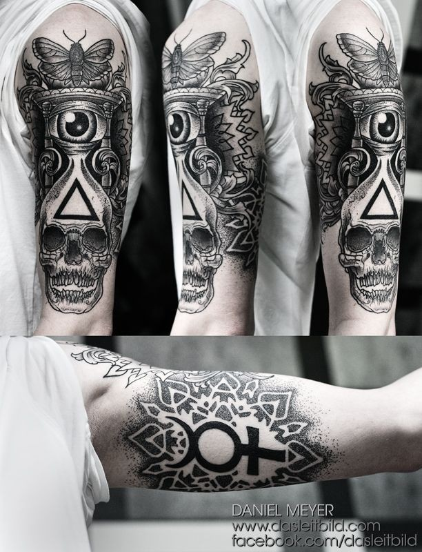 Stunning Masonic style black and white detailed cult tattoo on sleeve