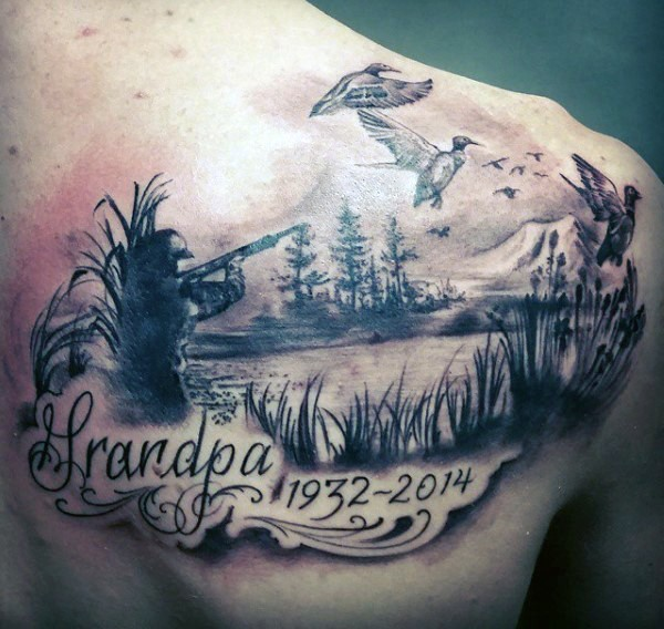 Stunning memorial themed black and gray style shoulder tattoo of hunter with lettering