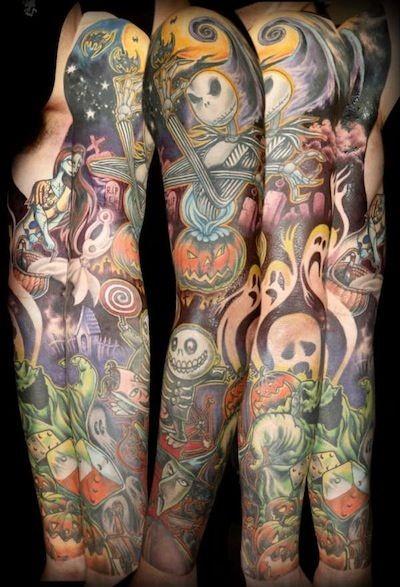 Stunning multicolored monster cartoon tattoo on sleeve