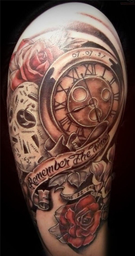 Stunning multicolored shoulder tattoo of old clock with flowers and lettering
