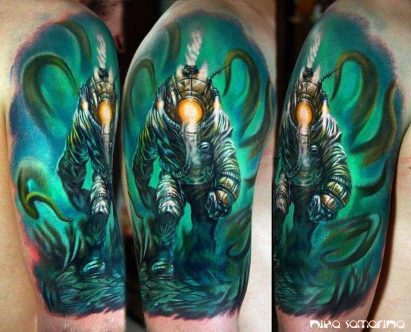 Stunning new school style shoulder tattoo of underwater diver