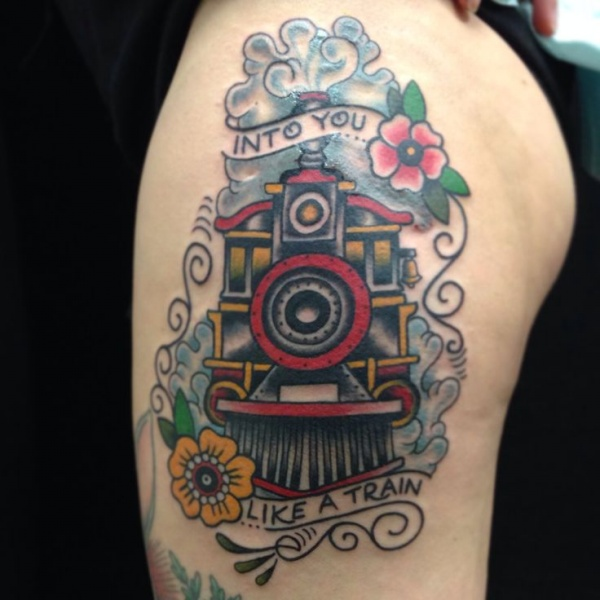 Stunning old school train tattoo on upper arm with lettering
