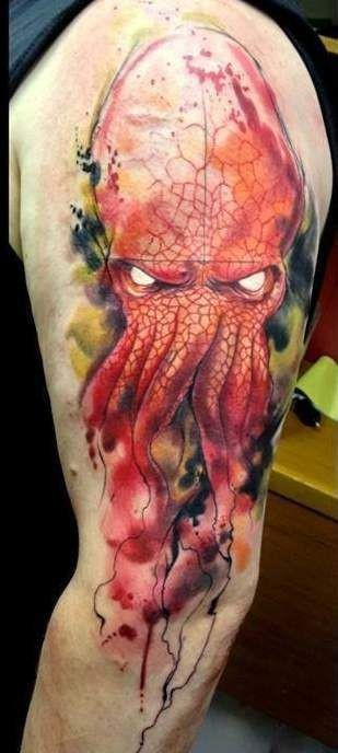 Stunning painted and colored evil octopus tattoo on shoulder