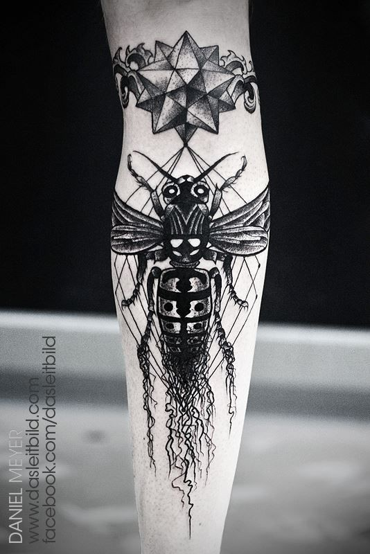 Stunning painted big black and white bee with mystic star tattoo on arm