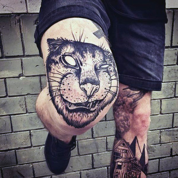 Stunning painted black ink knee tattoo of cat face