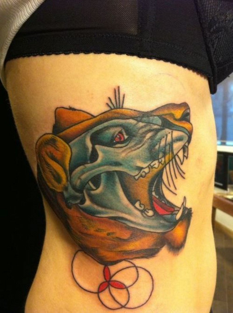 bellissimo dipinto colorato X- Ray leone tatuaggio su coscia