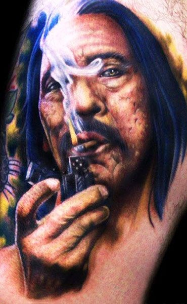 Stunning painted realistic looking American famous actor tattoo on arm