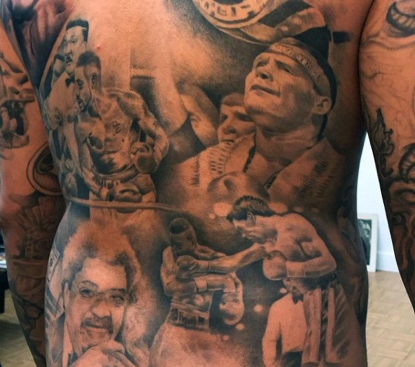 Stunning painted various famous boxers tattoo on whole back
