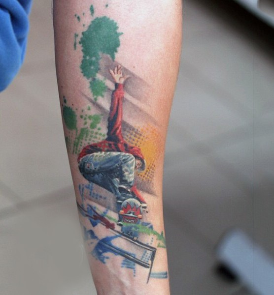 Stunning Photoshop style colored skateboarder tattoo on forearm