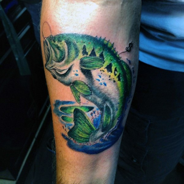 Stunning Realistic Looking Colored Hooked Fish Tattoo On Arm Tattooimages Biz
