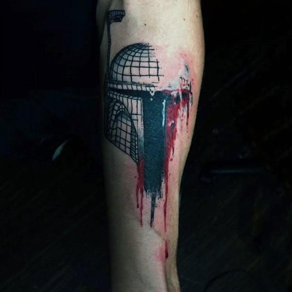 Tatuaje en la pierna, edificio fantástico de colores