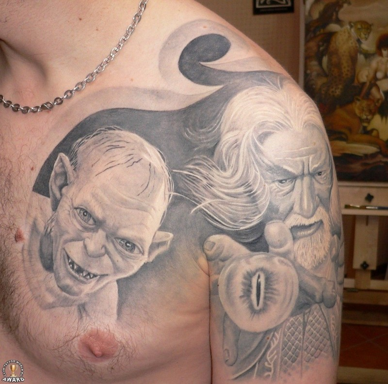 Stunning very detailed black and white Lord of the Rings heroes portraits tattoo on shoulder