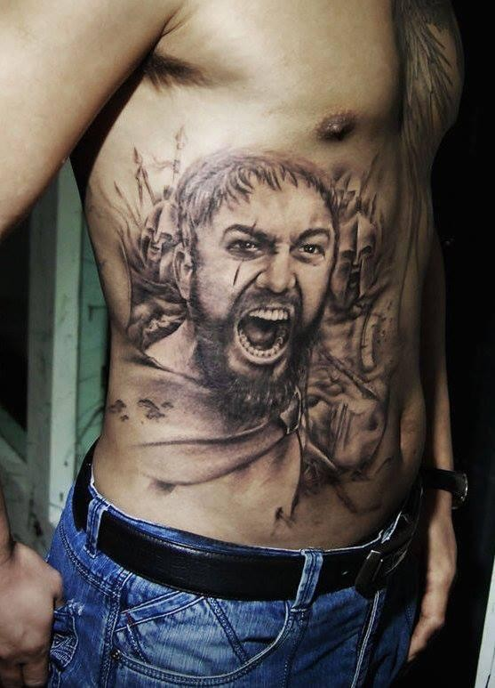 Stunning very detailed black ink belly tattoo of Spartan king portrait