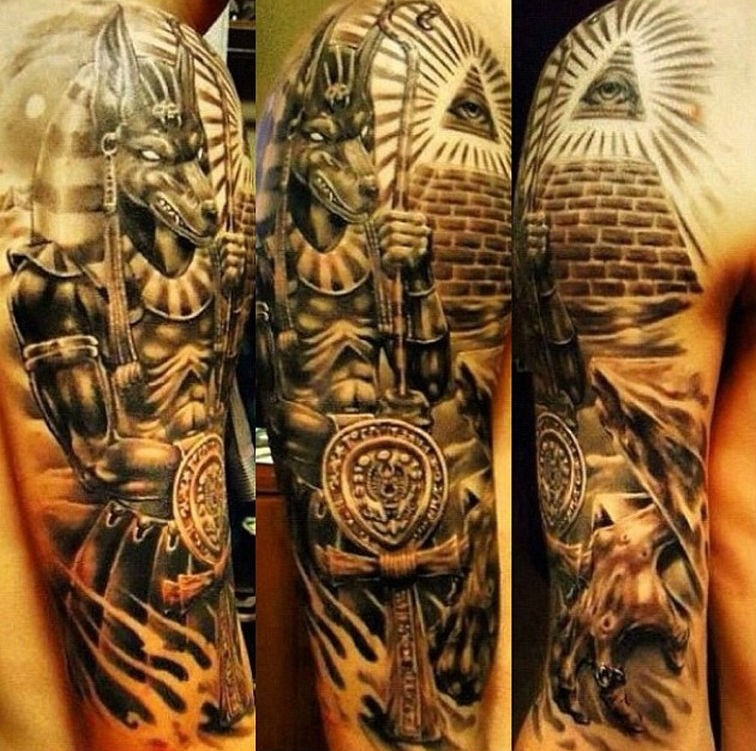 Stunning Very Detailed Colored Half Sleeve Tattoo Of Egypt